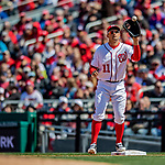 5 April 2018: Washington Nationals first baseman Ryan Zimmerman in action against the New York Mets at Nationals Park in Washington, DC. The Mets defeated the Nationals 8-2 in the first game of their 3-game series. Mandatory Credit: Ed Wolfstein Photo *** RAW (NEF) Image File Available ***