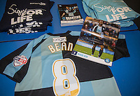 Marcus Bean of Wycombe Wanderers programme & shirt during the Sky Bet League 2 match between Wycombe Wanderers and Bristol Rovers at Adams Park, High Wycombe, England on 27 February 2016. Photo by Andy Rowland.