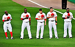 8 June 2010: Members of the Washington Nationals stand at attention during the playing of the National Anthem prior to a game against the Pittsburgh Pirates at Nationals Park in Washington, DC. The Nationals defeated the Pirates 5-2 in the series opener where pitching sensation Stephen Strasburg made his Major League debut, striking out 14 batters and notching his first win in the majors. Mandatory Credit: Ed Wolfstein Photo
