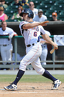 Tennessee Smokies Josh Vitters #6 swings at a pitch during a game against the Mobile BayBears at Smokies Park in Kodak,  Tennessee;  May 22, 2011.  The Smokies won the game 4-2.  Photo By Tony Farlow/Four Seam Images