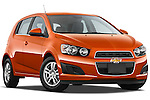 Low aggressive passenger side front three quarter view of a 2013 Chevrolet Sonic LT 5 Door.