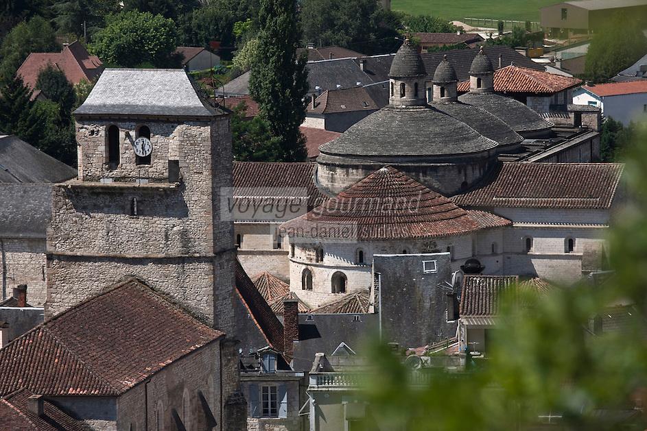 Europe/France/Midi-Pyrénées/46/Lot/Souillac: Le Beffroi et l'Abbaye Sainte-Marie de Souillac du XIIe siècle