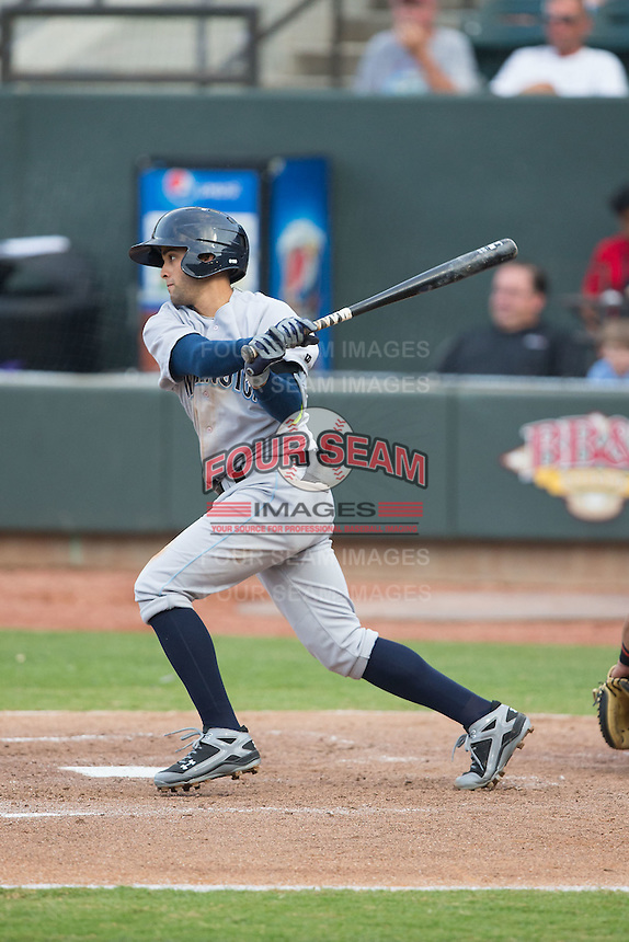 Jack Lopez (11) of the Wilmington Blue Rocks follows through on his swing against the Winston-Salem Dash at BB&T Ballpark on June 10, 2015 in Winston-Salem, North Carolina.  The Blue Rocks defeated the Dash 11-5.  (Brian Westerholt/Four Seam Images)