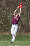 WATERBURY,  CT-041319JS16- Sacred Heart's Eduardo Romero (3) leaps to catch a fly ball during their game with Watertown Saturday at Waterville Park in Waterbury. <br /> Jim Shannon Republican American