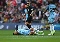 Manchester City's David Silva goes down with an injury<br /> <br /> Photographer Rob Newell/CameraSport<br /> <br /> The Emirates FA Cup Semi-Final - Arsenal v Manchester City - Sunday 23rd April 2017 - Wembley Stadium - London<br />  <br /> World Copyright &copy; 2017 CameraSport. All rights reserved. 43 Linden Ave. Countesthorpe. Leicester. England. LE8 5PG - Tel: +44 (0) 116 277 4147 - admin@camerasport.com - www.camerasport.com