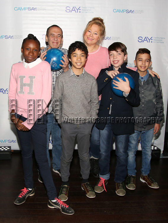 Gilbert Gottfried and Caroline Rhea with the (SAY) kids attend the 5th Annual Paul Rudd All-Star Bowling Benefit for (SAY) at Lucky Strike Lanes on February 13, 2017 in New York City.