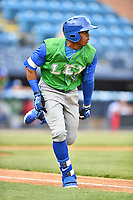 Lexington Legends center fielder Khalil Lee (9) runs to first base during a game against the Asheville Tourists at McCormick Field on May 29, 2017 in Asheville, North Carolina. The Legends defeated the Tourists 5-2. (Tony Farlow/Four Seam Images)