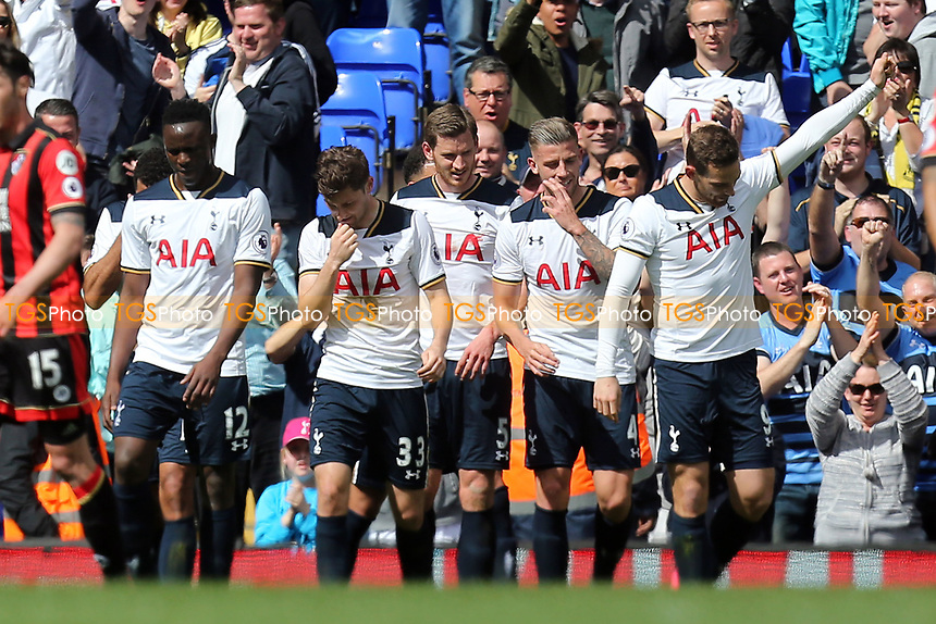 Vincent Janssen of Tottenham Hotspur is congratulated after scoring the fourth goal during Tottenham Hotspur vs AFC Bournemouth, Premier League Football at White Hart Lane on 15th April 2017