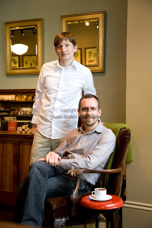 Cacao owners Aubrey Lindley (white shirt) and Jesse Manis at their shop in Portland, OR