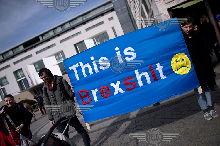 'This is Brexshit' at a pro-EU rally, the 'March for Europe', organised by the European Movement to celebrate the 60th anniversary of the Treaty of Rome.