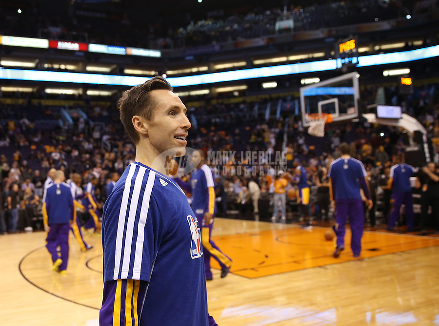 Jan. 30, 2013; Phoenix, AZ, USA: Los Angeles Lakers guard Steve Nash prior to the game against the Phoenix Suns at the US Airways Center. Mandatory Credit: Mark J. Rebilas-