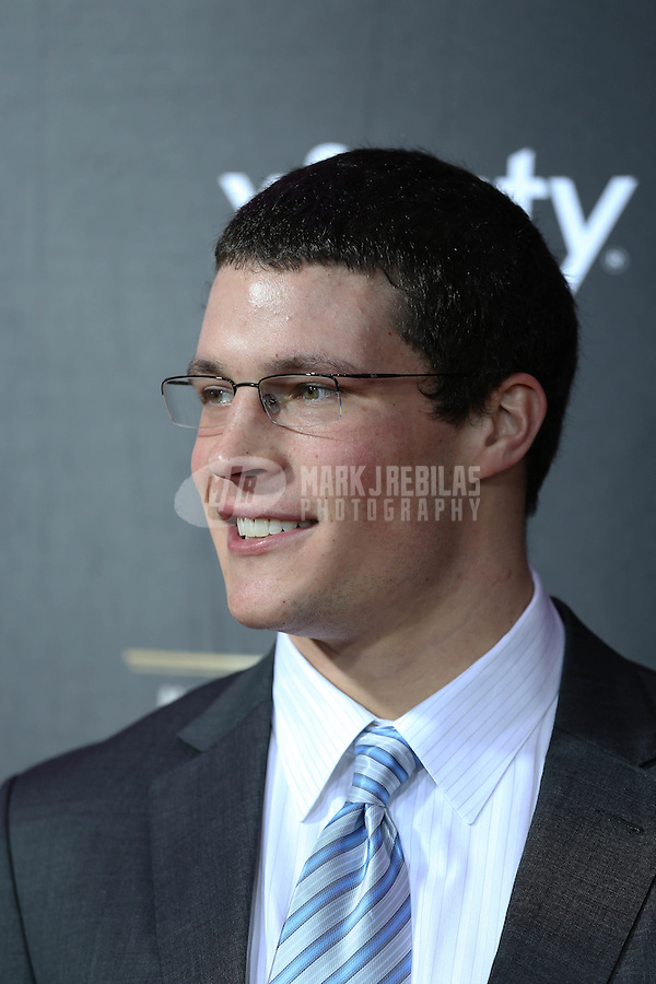 Feb. 2, 2013; New Orleans, LA, USA:  NFL player Luke Kuechly on the red carpet prior to the Super Bowl XLVII NFL Honors award show at Mahalia Jackson Theater. Mandatory Credit: Mark J. Rebilas-USA TODAY Sports
