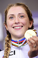 Picture by Alex Broadway/SWpix.com - 06/03/2016 - Cycling - 2016 UCI Track Cycling World Championships, Day 5 - Lee Valley VeloPark, London, England - Laura Trott of Great Britain poses with her Gold Medal after victory in the Women's Omnium Final.