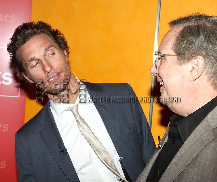 Matthew McConaughey & William Friekin backstage at 'TimesTalks: Stage To Screen' with David CarrNew York City on 7/24/2012.