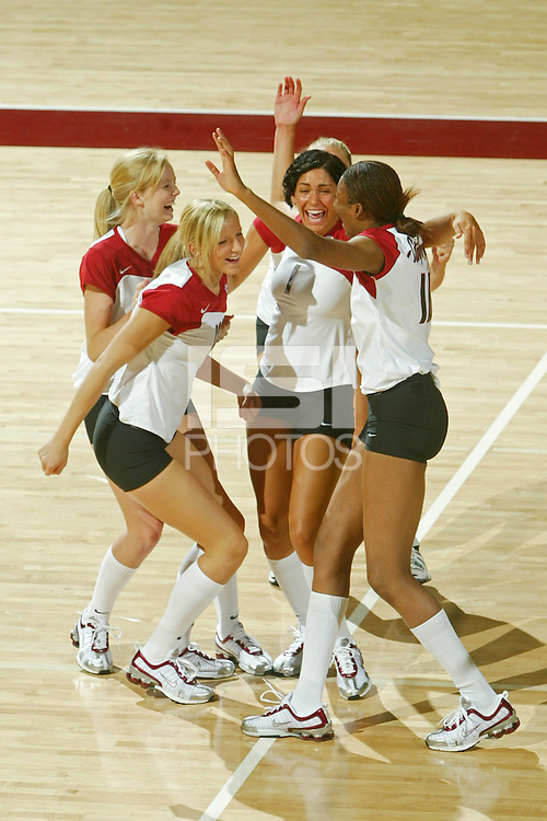 11 August 2005: Jessica Fishburn, Alex Fisher, Cynthia Barboza, Foluke Akinradewo and Erin Waller during picture day at Maples Pavilion in Stanford, CA.