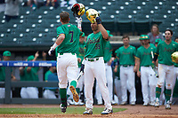 Nick Podkul (7) of the Notre Dame Fighting Irish celebrates a home run with Jake Johnson (39) against the Florida State Seminoles in Game Four of the 2017 ACC Baseball Championship at Louisville Slugger Field on May 24, 2017 in Louisville, Kentucky. The Seminoles walked-off the Fighting Irish 5-3 in 12 innings. (Brian Westerholt/Four Seam Images)