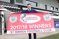 St Mirren Manager Jack Ross celebrates after winning the Scottish Professional Football League Ladbrokes Championship at the Paisley 2021 Stadium, Paisley on 14.4.18.