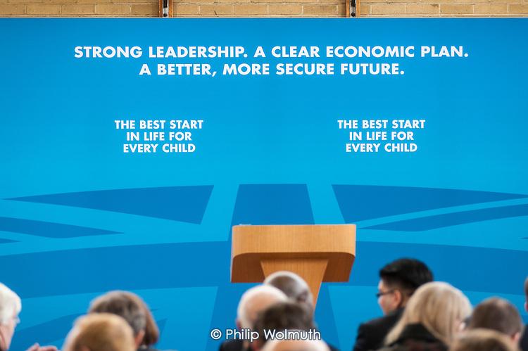 Empty platform.  Conservative Party general election press conference, Kingsmead School, Enfield, London.