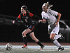 South Side No. 6 Alex Churma, left, gets pressured by Wantagh No. 18 Darcie Smith during a Nassau County varsity girls' soccer Class A semifinal played at Cold Spring Harbor High School on Friday, October 30, 2015.<br /> <br /> James Escher