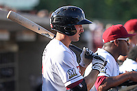 Wisconsin Timber Rattlers third baseman Dustin DeMuth (12) waits on deck during a Midwest League game against the Quad Cities River Bandits on July 17th, 2015 at Fox Cities Stadium in Appleton, Wisconsin. Quad Cities defeated Wisconsin 4-2. (Brad Krause/Four Seam Images)