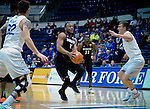 January 24, 2017:  San Diego State guard, D'Erryl Williams #11, drives the lane during the NCAA basketball game between the San Diego State Aztecs and the Air Force Academy Falcons, Clune Arena, U.S. Air Force Academy, Colorado Springs, Colorado.  Air Force defeats San Diego State 60-57.