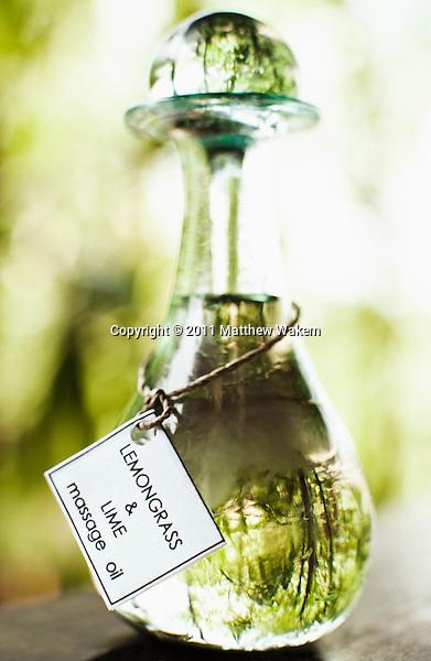 Bottle of lemongrass and lime massage oil, Ayung Spa, Ubud Hanging Gardens, Bali, Indonesia.