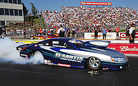May 18, 2012; Topeka, KS, USA: NHRA pro stock driver Mark Martino during qualifying for the Summer Nationals at Heartland Park Topeka. Mandatory Credit: Mark J. Rebilas-