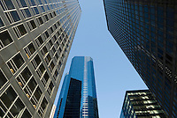 AVAILABLE FOR LICENSING FROM GETTY IMAGES.  Please go to www.gettyimages.com and search for image # 129908290.<br /> <br /> Upward View of Office Buildings in Lower Manhattan's Financial District, New York City, New York State, USA