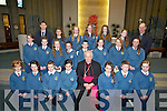 6th Class pupils with their teacher Robert Kennedy and Fr Padraig Walsh PP, after they were confirmed in St Brendan's Church, Tralee on Friday by the Bishop of Kerry Bill Murphy.