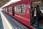 Young girl on the Bantan Line train in Himeji Station in Himeji Japan