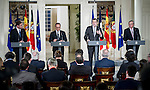 The President of the republic of France Francoise Hollande and Portugal president Pedro Passos Coelho visits to the president of Spain Mariano Rajoy in Moncloa Palace. 2015703/04. Samuel de Roman / Photocall3000.
