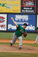 Down East Wood Ducks pitcher Tyler Davis (14) on the mound during a game against the Carolina Mudcats  on April 27, 2017 at Five County Stadium in Zebulon, North Carolina. Carolina defeated Down East 9-7. (Robert Gurganus/Four Seam Images)