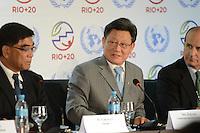 RIO DE JANEIRO-21/06/2012-Sha Zukang, secretario da Onu na Coletiva de Imprensa com representantes de ONGs na  Conferencia da ONU, no Rio Centro, zona oeste do Rio.Foto:Marcelo Fonseca-Brazil Photo Press