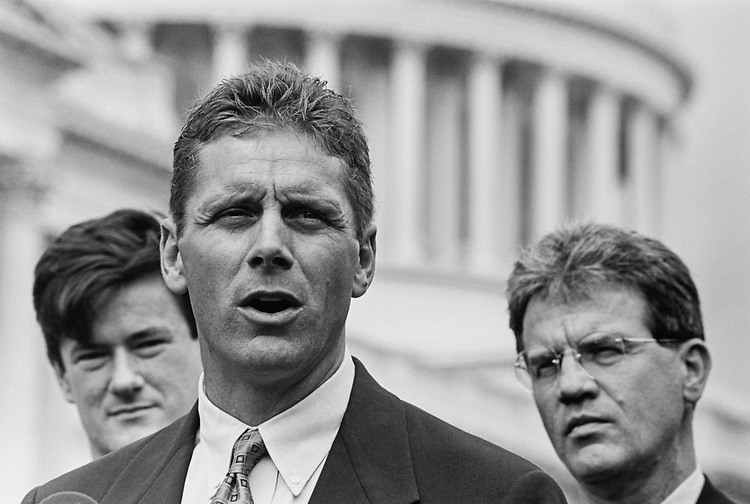 Rep. Joe Scarborough, R-Fla., with Rep. Steve Largent, R-Okla., and Rep. Tom Coburn, R-Okla., at Republican press conference on committee funding, on May 5, 1997. (Photo by Maureen Keating/CQ Roll Call via Getty Images)