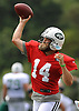 Ryan Fitzpatrick #14, New York Jets starting quarterback, throws a pass during team training camp at Atlantic Health Jets Training Center in Florham Park, NJ on Friday, Aug. 5, 2016