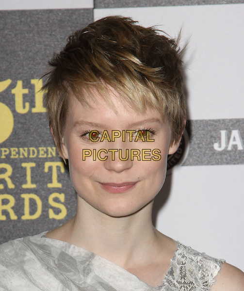 MIA WASIKOWSKA.25th Annual Film Independent Spirit Awards held At The Nokia LA Live, Los Angeles, California, USA,.March 5th, 2010 ..arrivals Indie Spirit portrait headshot  silver grey gray off white cropped short hair make-up .CAP/ADM/KB.©Kevan Brooks/Admedia/Capital Pictures