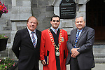 Frank Godfrey, Mayor Kevin Callan and Brian Hanratty (who gave a speech at the Commemoration) outside the Augustinian Church for the Famine Commemoration..Picture: Shane Maguire / www.newsfile.ie.