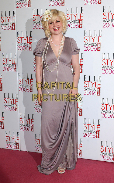 KELLY OSBOURNE.The Elle Style Awards 2006, Atlantis Gallery, Old Truman Brewery, Brick Lane, London, UK..February 20th, 2006 .Ref: BEL.full length pearl necklace flowers in hair purple dress.www.capitalpictures.com.sales@capitalpictures.com.© Capital Pictures.