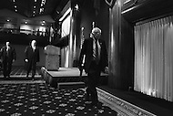 Washington, DC - May 1, 2016: Sen. Bernie Sanders leaves the ballroom of the National Press Club in the District of Columbia, followed by Secret Service agents, after speaking to members of the media, May 1, 2016, to outline his remaining campaign strategy as he trails former Secretary of State Hillary Clinton in the delegate count for the 2016 Democratic presidential nomination. (Photo by Don Baxter/Media Images International)