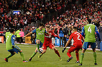 Toronto, ON, Canada - Saturday Dec. 10, 2016: Nicolas Lodeiro, Nick Hagglund during the MLS Cup finals at BMO Field. The Seattle Sounders FC defeated Toronto FC on penalty kicks after playing a scoreless game.