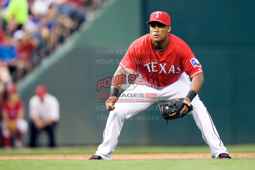 Texas Rangers third baseman Adrian Beltre (29) on defense against the Oakland Athetics in American League baseball on May 11, 2011 at the Rangers Ballpark in  Arlington, Texas. (Photo by Andrew Woolley / Four Seam Images)