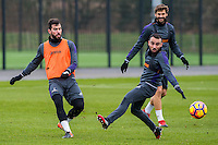 Tuesday 17 January 2017<br /> Pictured: Jordi Amat,Leon Britton and Fernando Llorente of Swansea City during training <br /> Re:Swansea City training session at the Fairwood Training ground, Fairwood, Swansea, Wales, UK