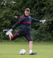 Goalkeeper Henry Newcombe during the PEAK Elite Sportswear Photoshoot at Wycombe Training Ground, High Wycombe, England on 1 August 2017. Photo by PRiME Media Images.