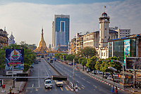 Myanmar, Burma.  Yangon, Sule Pagoda Road, Early Morning.
