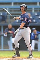 Rome Braves Jakob Dalfonso #9 swings at a pitch during  a game against  the Asheville Tourists at McCormick Field in Asheville,  North Carolina;  May 18, 2011. The Braves won the game 8-7.  Photo By Tony Farlow/Four Seam Images