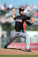 Miami Marlins pitcher John Maine #73 during a Spring Training game against the Boston Red Sox at JetBlue Park on March 27, 2013 in Fort Myers, Florida.  Miami defeated Boston 5-1.  (Mike Janes/Four Seam Images)