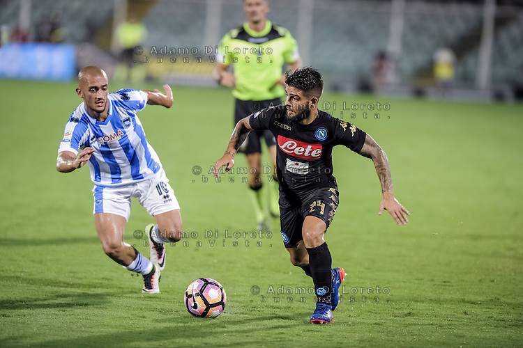 Benali Ahmad (Pescara) and Lorenzo Insigne (Pescara) during the Italian Serie A football match Pescara vs SSC Napoli on August 21, 2016, in Pescara, Italy. Photo by Adamo Di Loreto