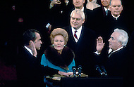 President Richard Nixon swearing in ceremony January 20, 1973 - A break in at the Democratic National Committee headquarters at the Watergate complex on June 17, 1972 results in one of the biggest political scandals the US government has ever seen.  Effects of the scandal ultimately led to the resignation of  President Richard Nixon, on August 9, 1974, the first and only resignation of any U.S. President.