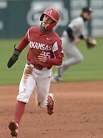 NWA Democrat-Gazette/ANDY SHUPE<br />Arkansas third baseman heads to third against South Carolina Saturday, April 14, 2018, at Baum Stadium. Visit nwadg.com/photos to see more photographs from the game.