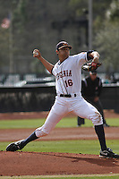 University of Virginia pitcher Branden Kline #16 on the mound during a game against the Boston College Eagles at Watson Stadium at Vrooman Field on February 17, 2012 in Conway, SC.  Boston College defeated Virginia 5-3.  (Robert Gurganus/Four Seam Images)